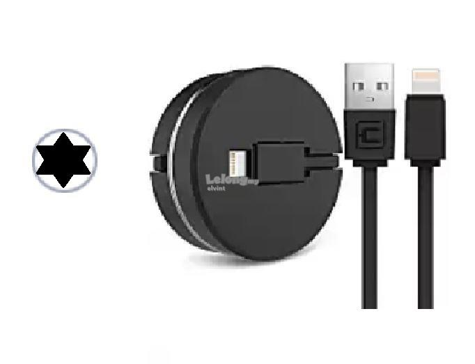 Retractable Digital IPhone USB Charger & Data Cable - Black