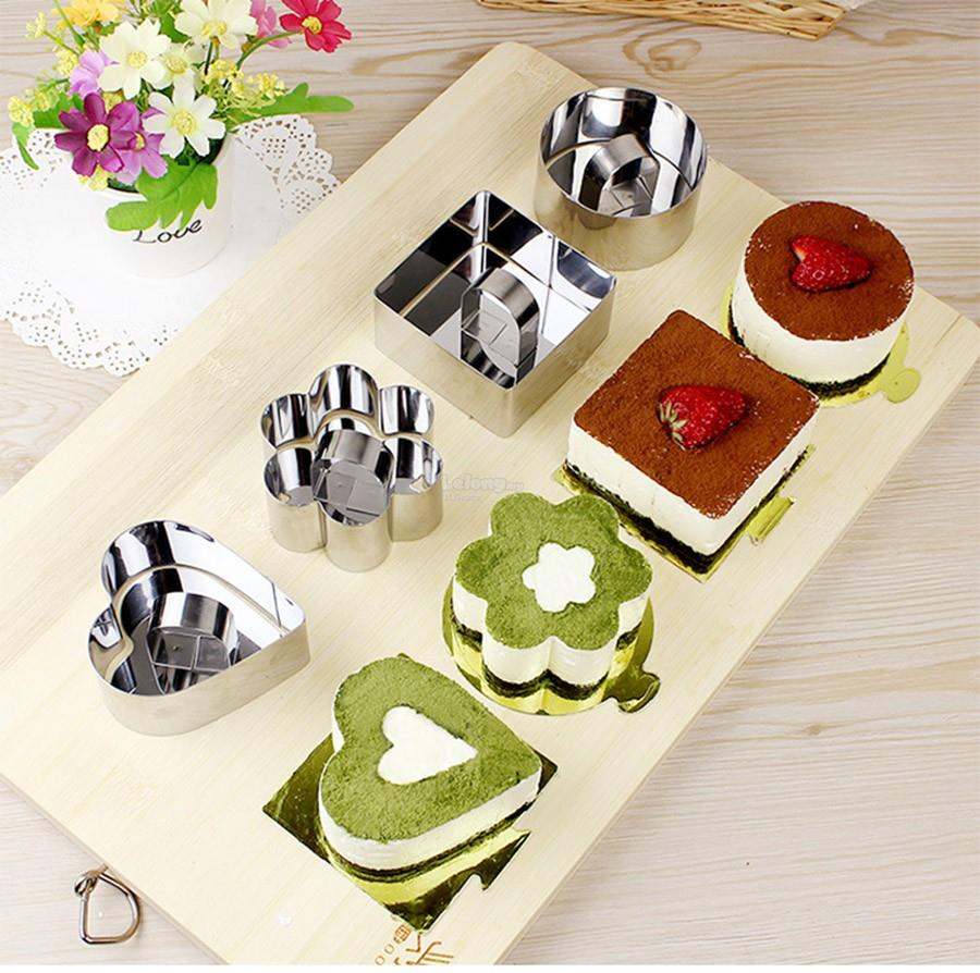 Retractable mousse cake ring mold mould with food press for Ilot central avec table retractable