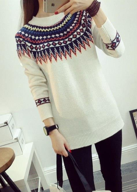 Retro Ethnic-style Knit Long Sleeve Blouse (White)