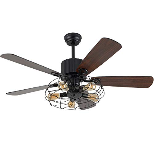 Retro Industrial Ceiling Fan Light 52 Inch 5-Lights E27 Fixture for Restaurant