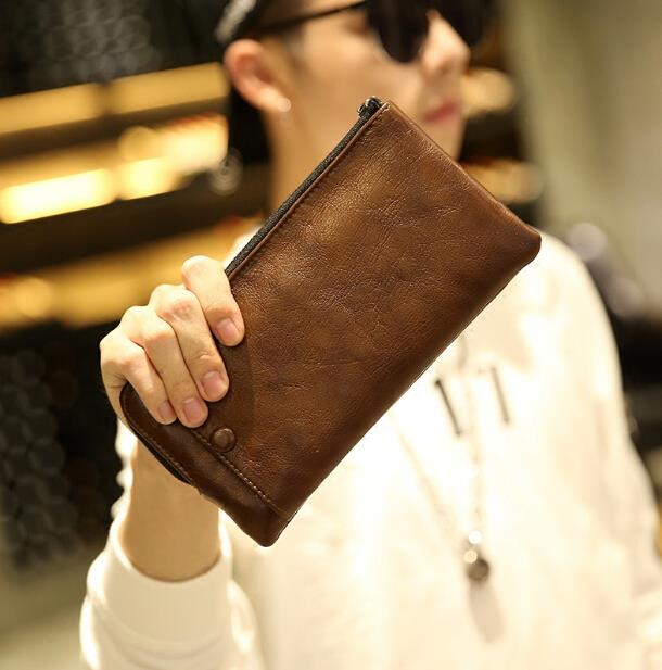 Retro men long paragraph zipper wallet