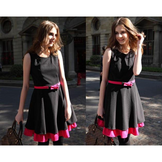 Retro Preppy Dress —Black Pink frills Sleeveless with belt Fit & flare
