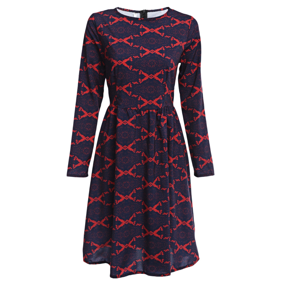 RETRO STYLE ROUND COLLAR ALLOVER PRINT SASH WAIST A-LINE DRESS FOR WOM