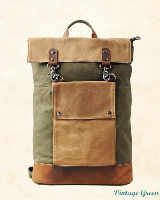Retro Vintage Korea Design Canvas Leather Backpack Unisex K2003. ‹ › 3baf18e68e7f5