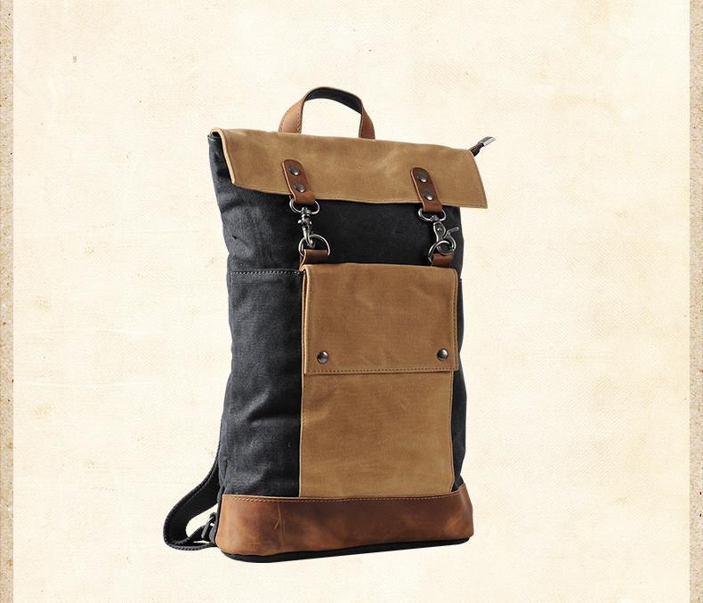 Retro Vintage Korea Design Canvas Leather Backpack Unisex K2003 f44be1973195a