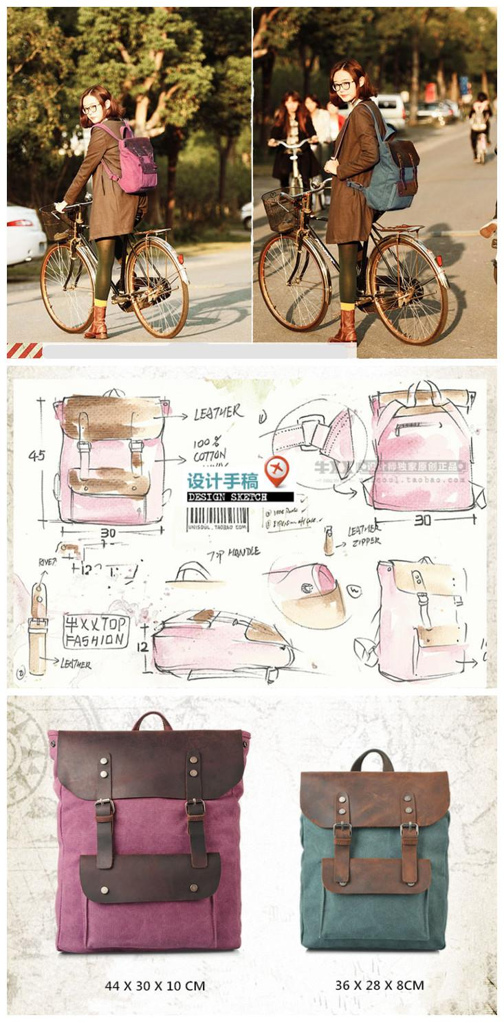 Retro Vintage Korean Design Canvas Leather Backpack 6876