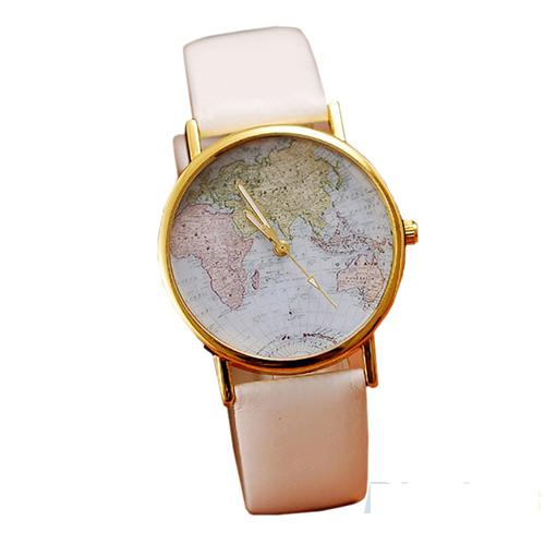 Retro World Map Women Leather Watch F0009