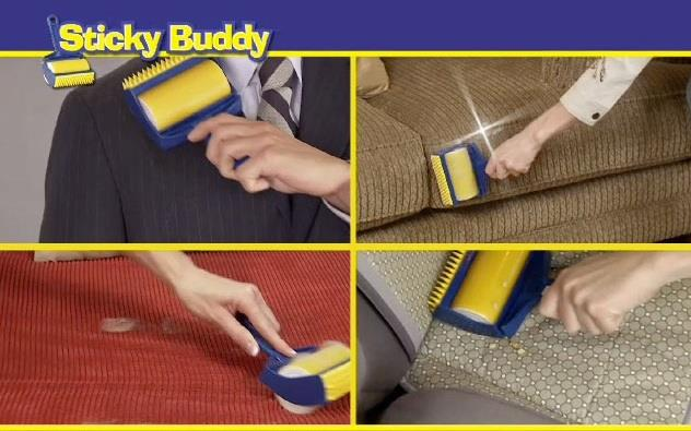 Reusable Sticky Buddy Carpet Clothes Lint Fur Remover Cleaner Roller