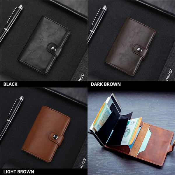 RFID Ridge US Metal Money Clip Leather Wallet Card Holder Card Case
