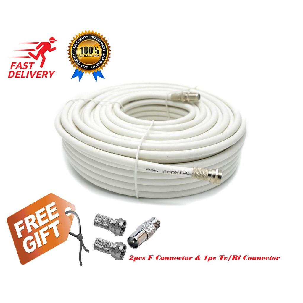 RG6 Hi Quality Coaxial Cables For Astro Digital TV CCTV (15m) Free  Connectors