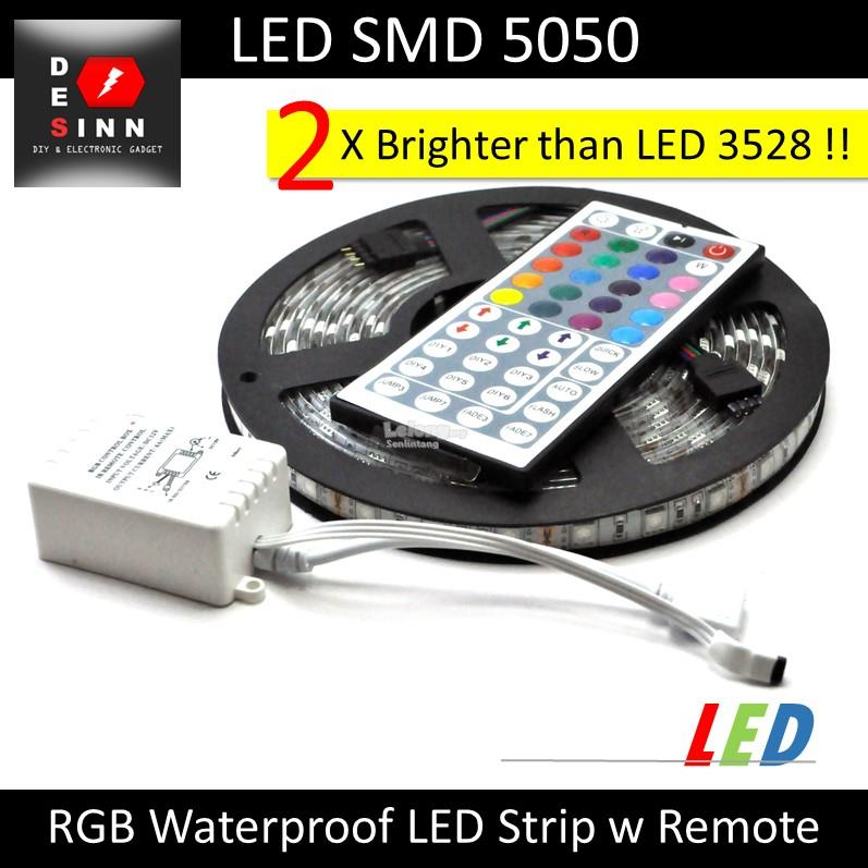 RGB 5050 Waterproof LED Strip 300LEDs 5M with Remote 44Keys 5A Adapter
