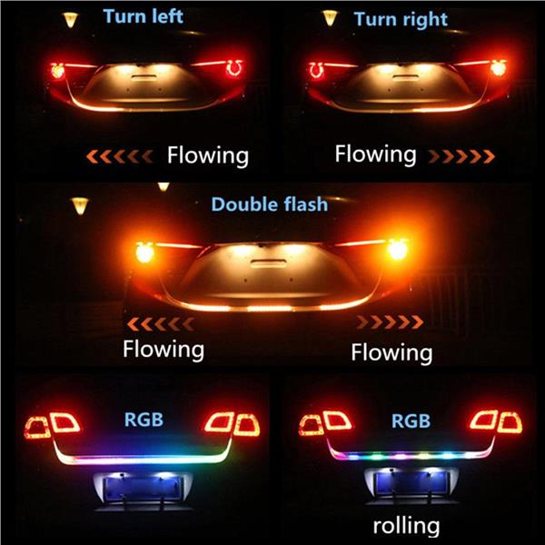 RGB Car Rear Trunk Strip Brake Signal Reverse Running Flowing LED