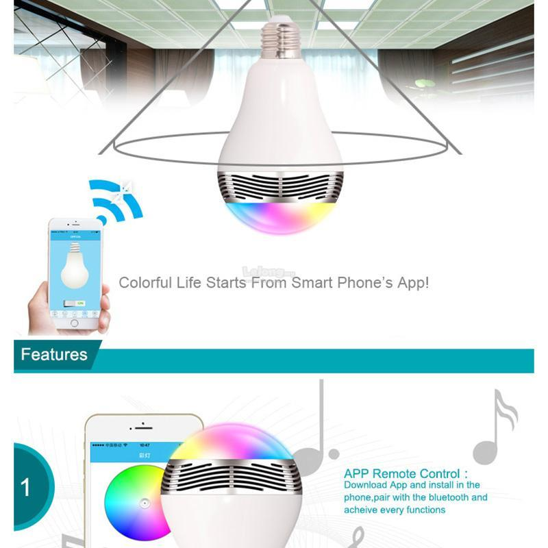 RGBW Smart LED Music Bulb Bluetooth Timer Speaker karaoke App Control