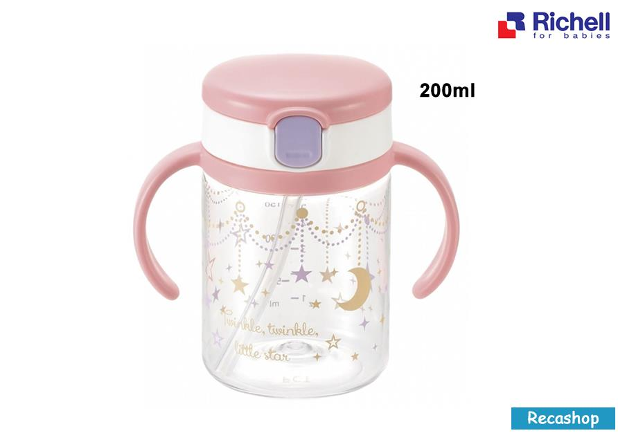 Richell AQ Straw 200ml Mug (Pink)