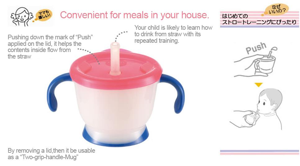 Richell AQ Straw Mug Set (Pink)