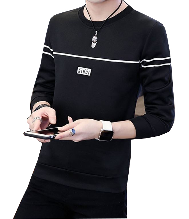 Rihui Korean Style Men's Long Sleeve Round Neck Sweater Shirt T-Shirt