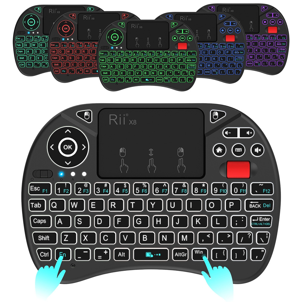 RII X8 LED BACKLIT MINI WIRELESS 2.4GHZ KEYBOARD WITH TOUCHPAD MOUSE C..