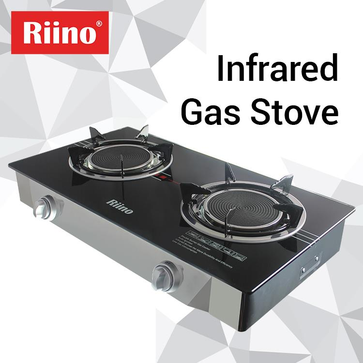 Riino Infrared Gas Stove Tempered Gl Top With Burner Rings