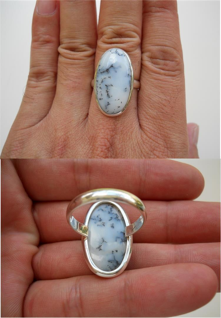 RIN011 Dendritic Agate Silver Ring
