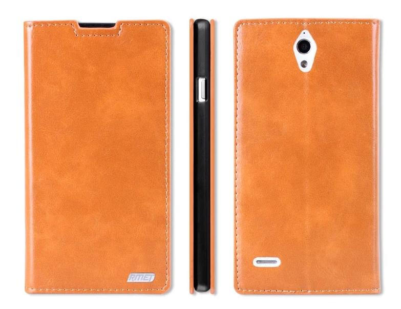 Rmet Cow Leather Huawei Ascend G700 Flip Case Cover + Free Gift