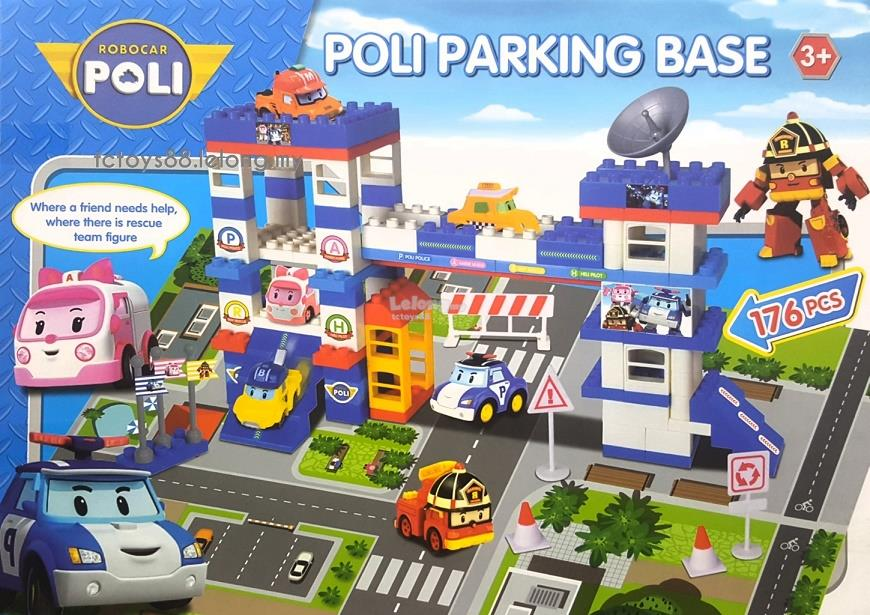 Robocar Poli Building Blocks Parking Base 176 pcs with 6 Car & Playmat