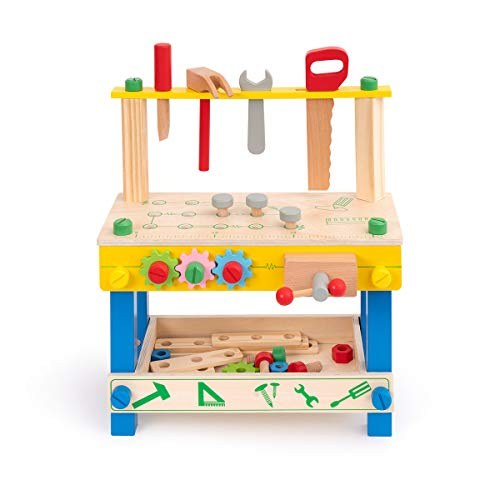 ROBUD Solid Wood Tool Stand Set for Toddlers and Kids, Wooden Workbench Toy Bi