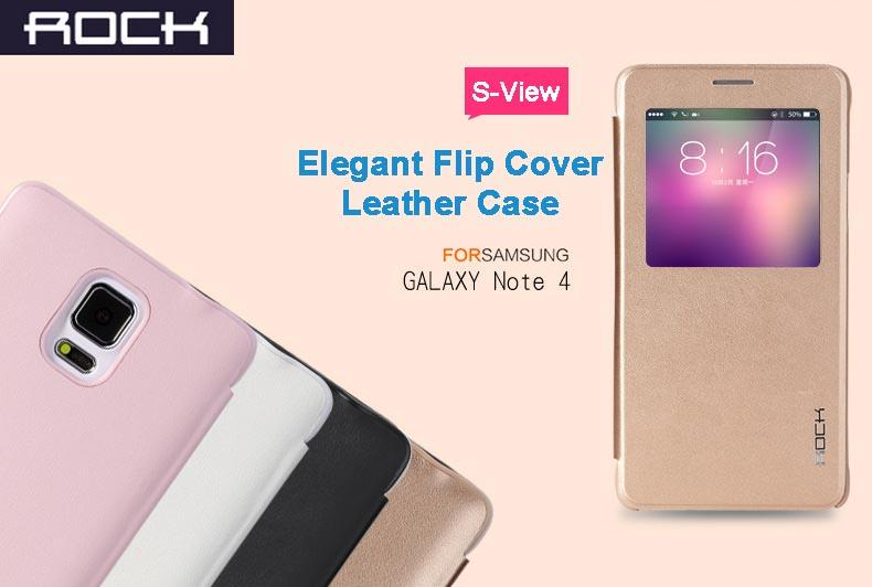 classic fit 188cd 5be75 ROCK Elegant Flip Cover S-View Leather Case for Samsung Galaxy Note 4