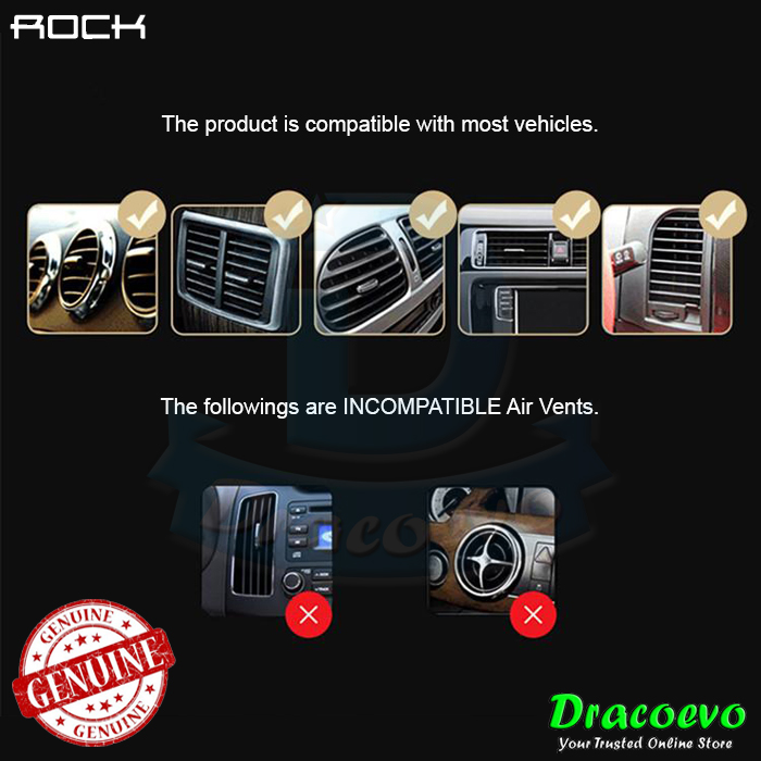 ROCK Gravity Car Holder Stand Universal Phone Air Vent Mount GPS