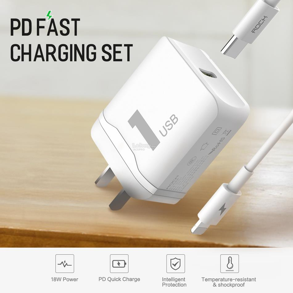 Rock PD Fast Charging Set Charger iPhone X 8 Type C To Lightning Cable