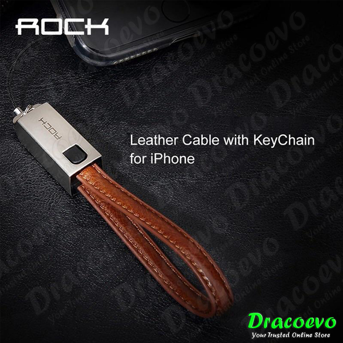 Rock Space Apple iPhone Lightning Leather Cable with Keychain