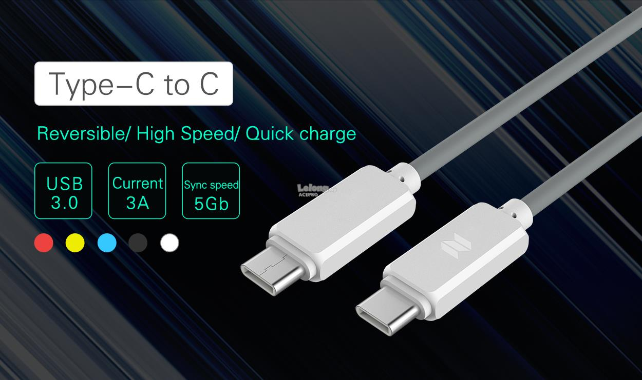 ROCK SPACE Type C to C 3.0 3A Fast Charging USB Cable