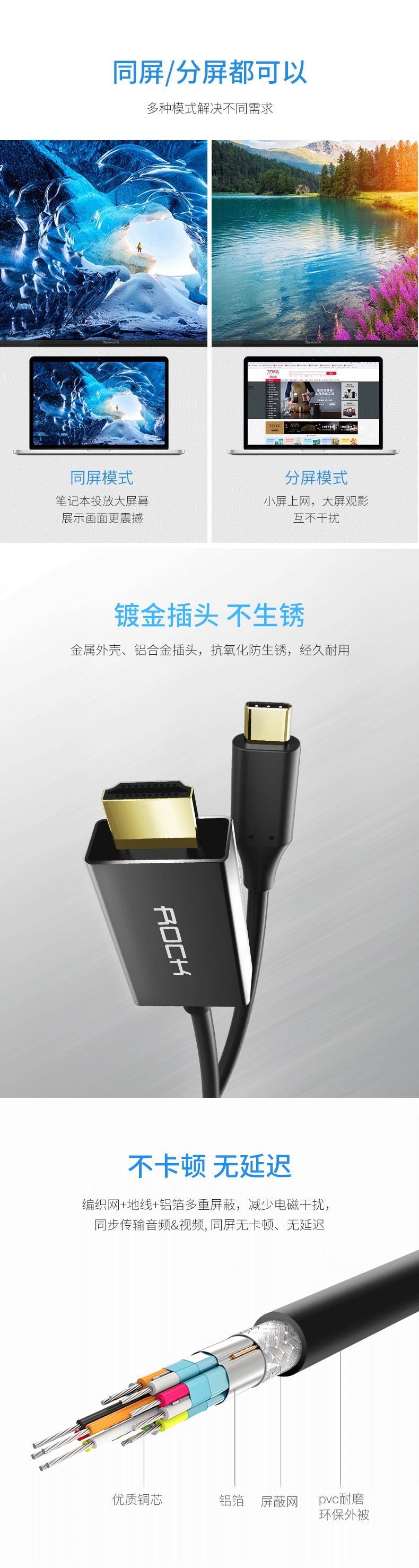 ROCK Type-C to HDMI Converter II USB 3.1 180CM RCB0579 for Mate 10 Pro