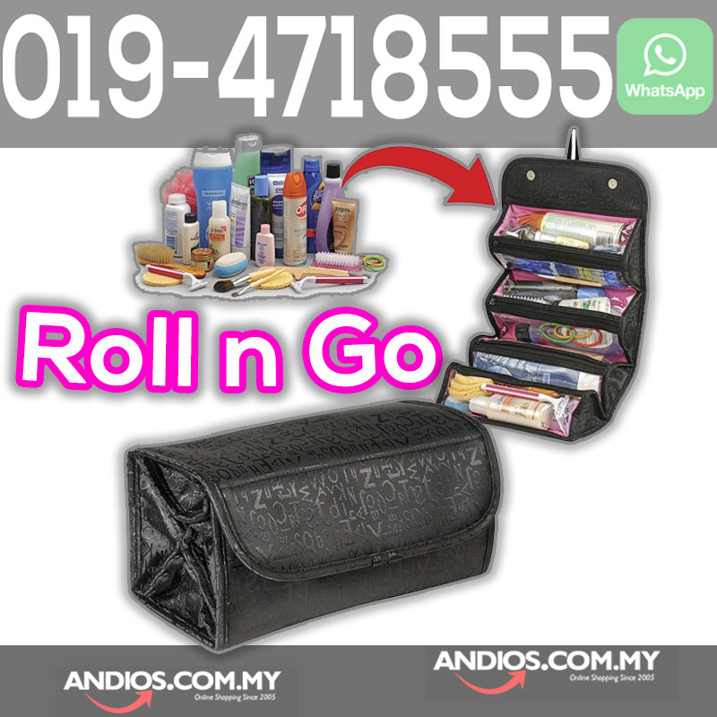 Roll N Go Makeup Cosmetic Bag Travel Pouch 4 Zip Compartment Toiletrie