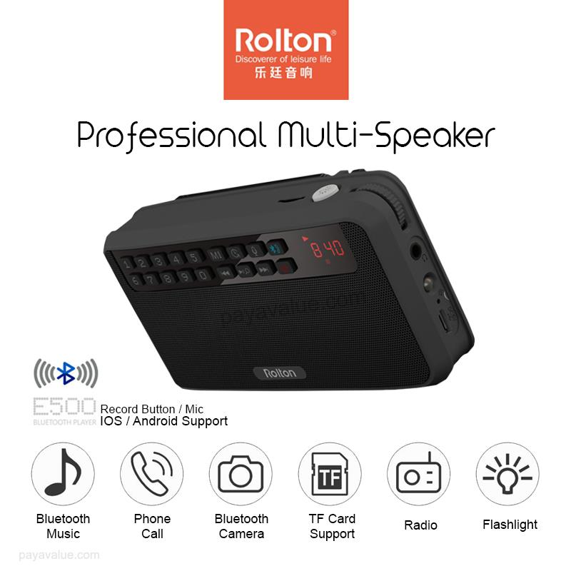 Rolton E500 Mini Stereo Bass Dual Track Charging Bluetooth Speakers FM