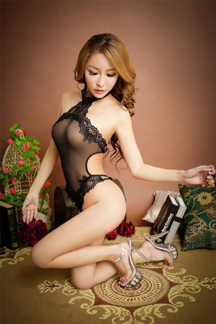 Romantic Black Sexy Show-Waist One-pcs Suit (Black)