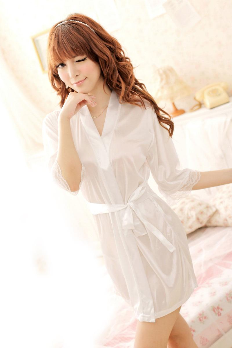 Romantic Ice Silk Bathrobe With Belt (White)
