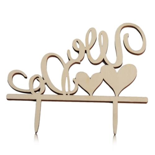 ROMANTIC WOODEN WE DO WEDDING CAKE TOPPER INSERTED CARD DECORATION (AP