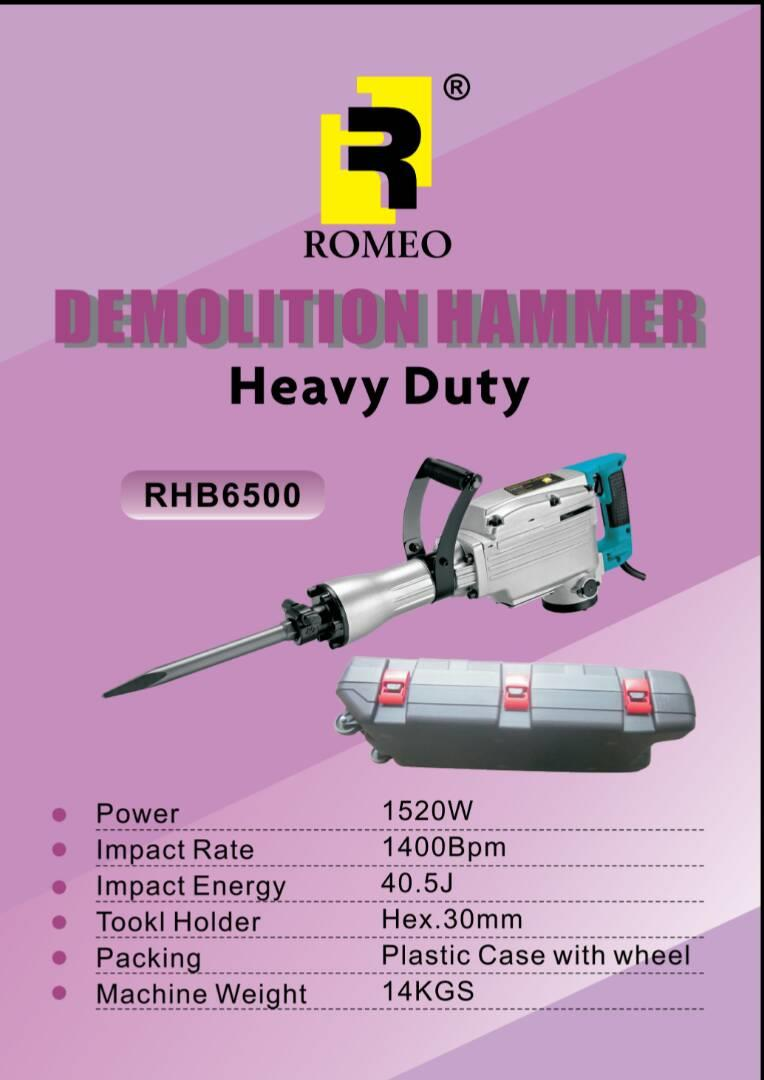ROMEO RHB6500 HEAVY DUTY DEMOLITION HAMMER WITH WHEEL CARRY CASE