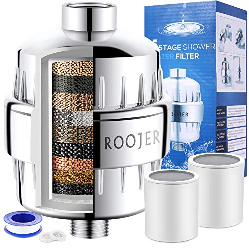 ~ ROOJER Shower Filter - 15 Stage Showerhead Filter for Hard Water - Remove Ch