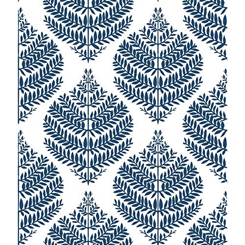RoomMates Hygge Fern Damask Blue Peel and Stick Wallpaper | Removable Wallpape