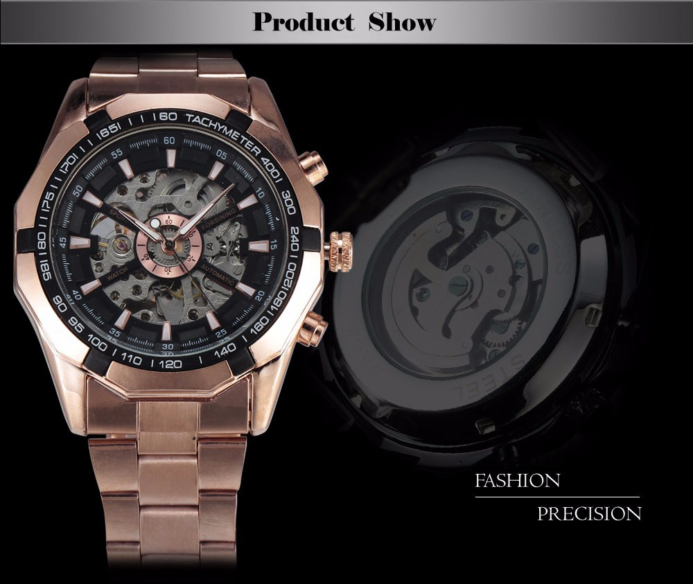 Rose Gold Black WINNER Men Mechanical watch WN-887-1AV