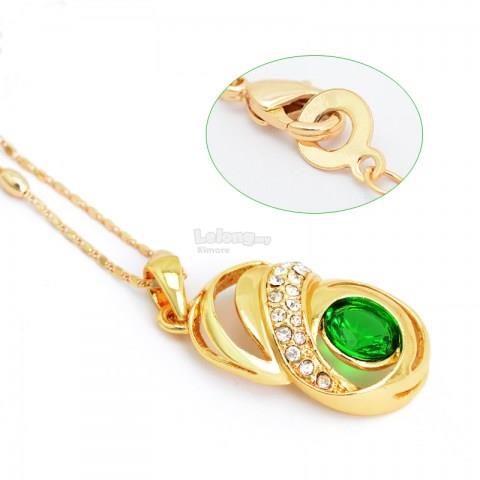 Rose Style Gold-plated Green Rhinestone Pendant Necklace Jewelry Set