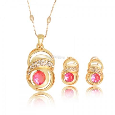 Rose Style Gold Plated Pink Rhinestone Jewelry Set