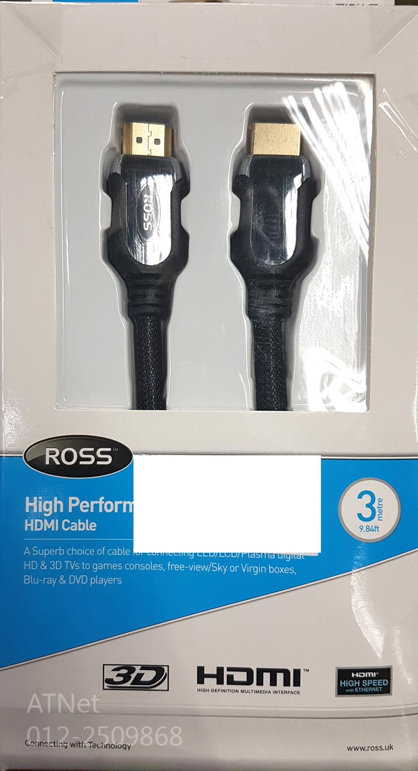 ROSS HIGH PERFORMANCE HDMI CABLE 3.0M (HPHDMI3)