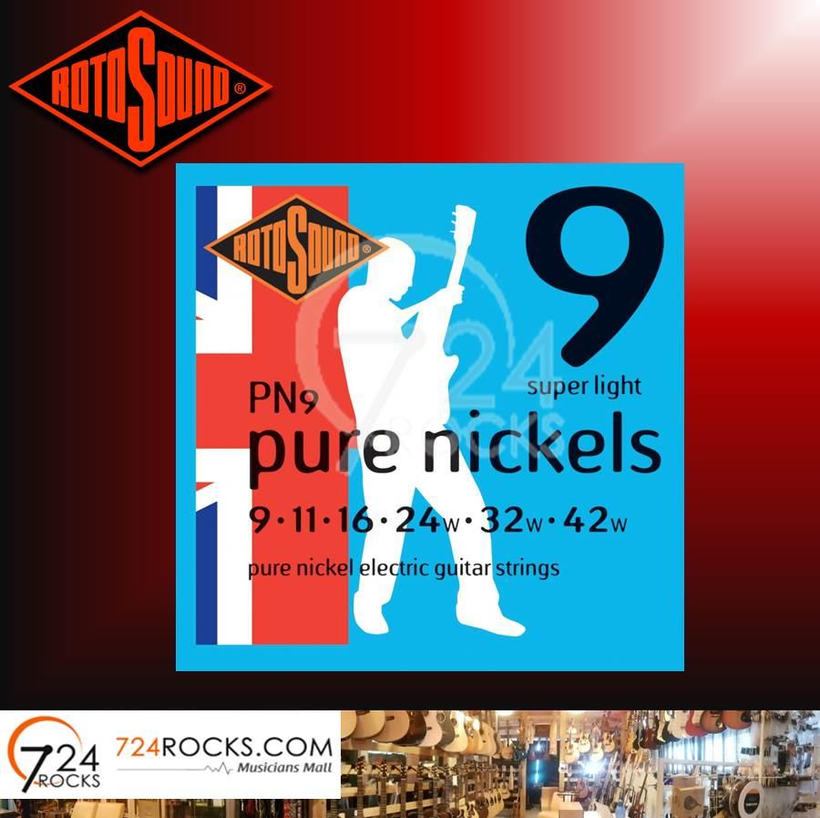Rotosound PN9 Pure Nickels Electric Guitar Strings 09-42 Super Light