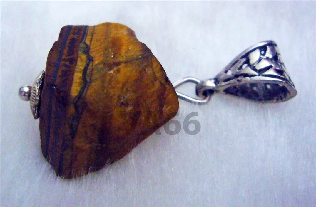 Rough Natural 17mm Brown Tiger Eye Gemstone Pendant Feng Shui Necklace