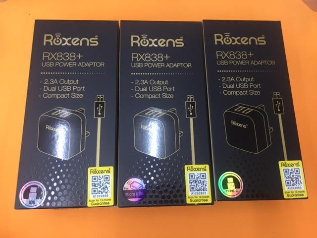 Roxens RX838 RX838+ Dual USB Compact Charger Cable iphone 5 6 7 8 X