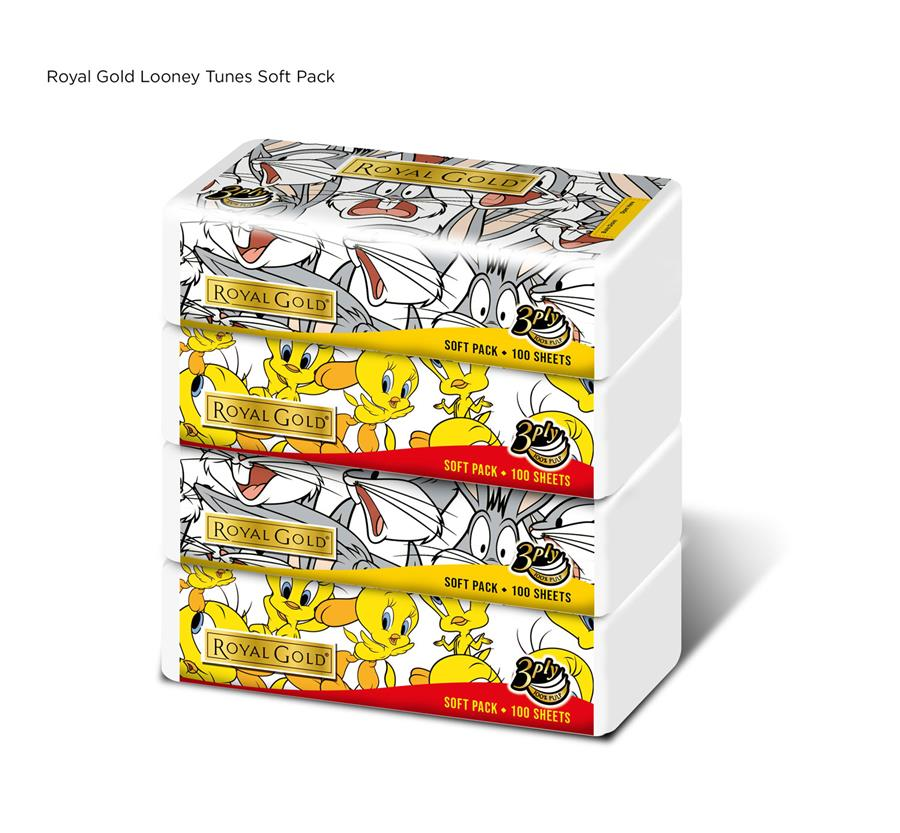 Royal Gold Looney Tunes Soft Pack 100 Sheets x 4pkts