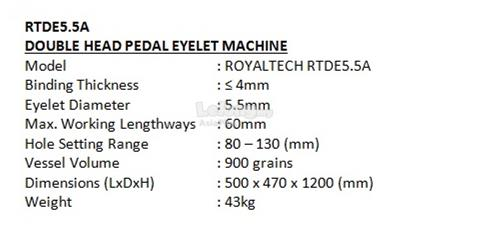 ROYALTECH Double Head Pedal Eyelet Machine - RTDE5.5A