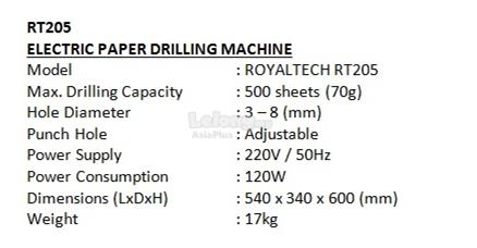 ROYALTECH Electric Paper Drilling Machine - RT205